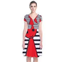 Red pawn Short Sleeve Front Wrap Dress