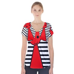 Red pawn Short Sleeve Front Detail Top