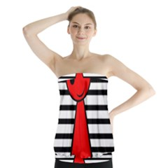 Red Pawn Strapless Top