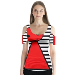 Red Pawn Butterfly Sleeve Cutout Tee