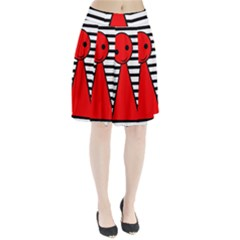Red Pawn Pleated Skirt