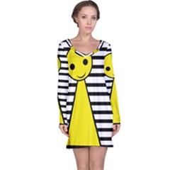 Yellow pawn Long Sleeve Nightdress
