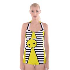 Yellow pawn Boyleg Halter Swimsuit