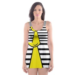 Yellow pawn Skater Dress Swimsuit
