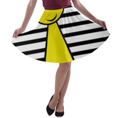 Yellow pawn A-line Skater Skirt