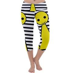 Yellow pawn Capri Yoga Leggings