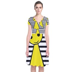 Yellow pawn Short Sleeve Front Wrap Dress