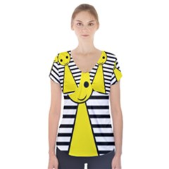 Yellow pawn Short Sleeve Front Detail Top