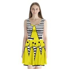 Yellow pawn Split Back Mini Dress