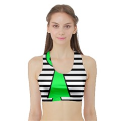 Green pawn Sports Bra with Border