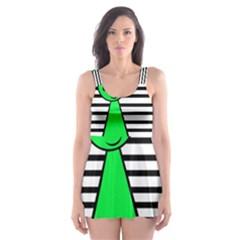Green pawn Skater Dress Swimsuit