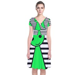 Green Pawn Short Sleeve Front Wrap Dress