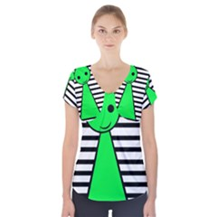 Green pawn Short Sleeve Front Detail Top
