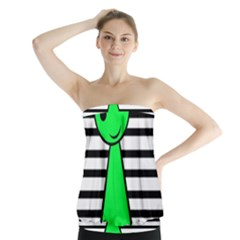 Green pawn Strapless Top