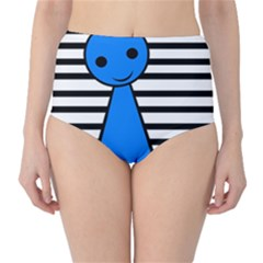 Blue pawn High-Waist Bikini Bottoms