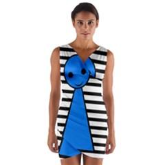 Blue pawn Wrap Front Bodycon Dress