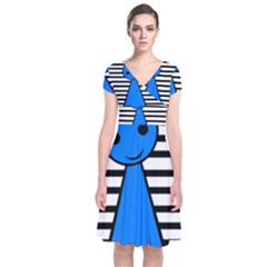 Blue pawn Short Sleeve Front Wrap Dress