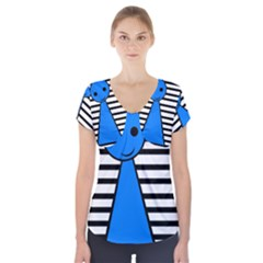 Blue pawn Short Sleeve Front Detail Top