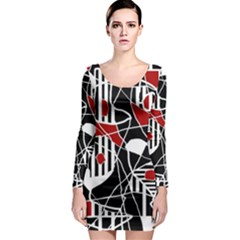 Artistic abstraction Long Sleeve Bodycon Dress