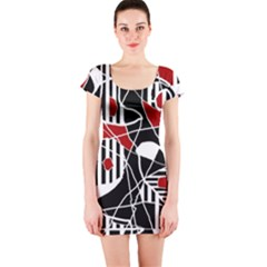 Artistic abstraction Short Sleeve Bodycon Dress