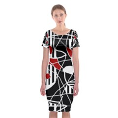 Artistic abstraction Classic Short Sleeve Midi Dress
