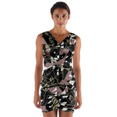 Artistic Abstract Pattern Wrap Front Bodycon Dress