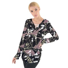 Artistic abstract pattern Women s Tie Up Tee