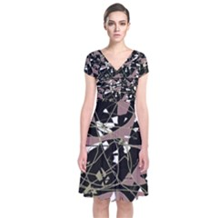 Artistic abstract pattern Short Sleeve Front Wrap Dress