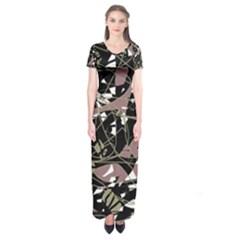 Artistic abstract pattern Short Sleeve Maxi Dress