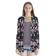 Artistic abstract pattern Drape Collar Cardigan