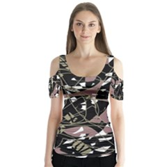 Artistic Abstract Pattern Butterfly Sleeve Cutout Tee
