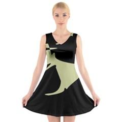 Kangaroo V-Neck Sleeveless Skater Dress