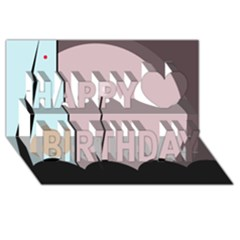Abstract design Happy Birthday 3D Greeting Card (8x4)
