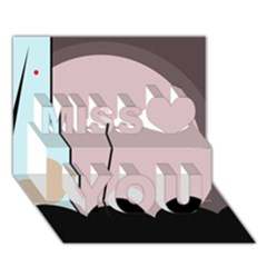 Abstract design Miss You 3D Greeting Card (7x5)