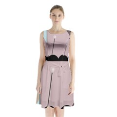 Abstract Design Sleeveless Waist Tie Dress