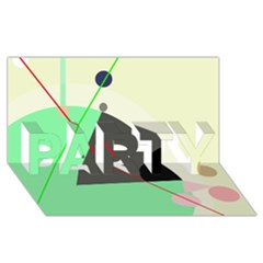 Decorative abstract design PARTY 3D Greeting Card (8x4)
