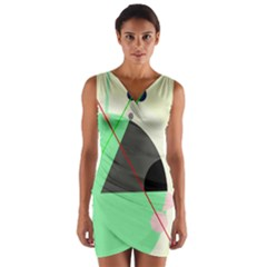 Decorative abstract design Wrap Front Bodycon Dress
