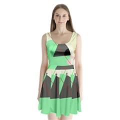 Decorative Abstract Design Split Back Mini Dress