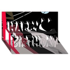 Artistic abstraction Happy Birthday 3D Greeting Card (8x4)