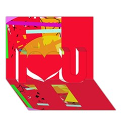 Red abstraction I Love You 3D Greeting Card (7x5)
