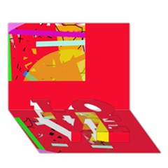 Red abstraction LOVE Bottom 3D Greeting Card (7x5)