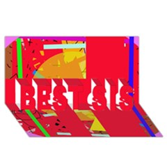 Red Abstraction Best Sis 3d Greeting Card (8x4)