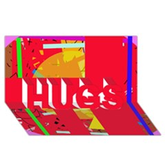 Red abstraction HUGS 3D Greeting Card (8x4)