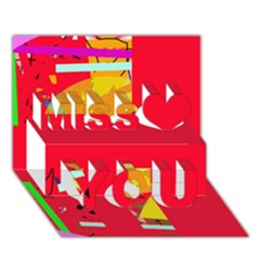 Red abstraction Miss You 3D Greeting Card (7x5)
