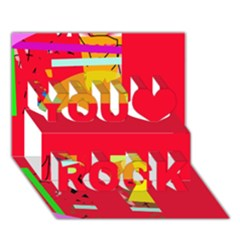 Red Abstraction You Rock 3d Greeting Card (7x5)