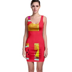 Red abstraction Sleeveless Bodycon Dress