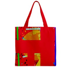 Red abstraction Zipper Grocery Tote Bag