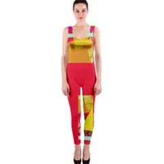 Red abstraction OnePiece Catsuit