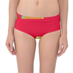 Red abstraction Mid-Waist Bikini Bottoms