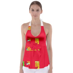 Red abstraction Babydoll Tankini Top